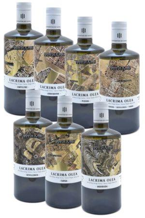 Pack descubrimiento con 6 aceites monovarietales y un coupage de los aceites de la Cooperativa de Godall