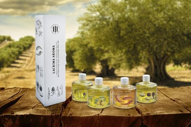 pack olis aromatics lacrima aroma. Presentació de 4 sabors, farígola, xilli, trufa i mandarina amb el millor oli verge extra de la Cooperativa de Godall