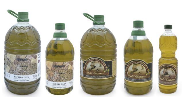 comprar oli d'oliva verge i verge extra lacrima olea i molí clapises de la Cooperativa de Godall amb format garrafa
